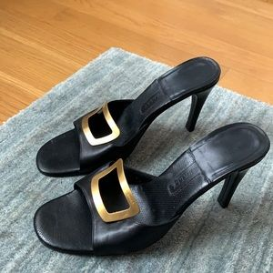 Bally Black Leather Virginia Buckle Heel Slide 9.5